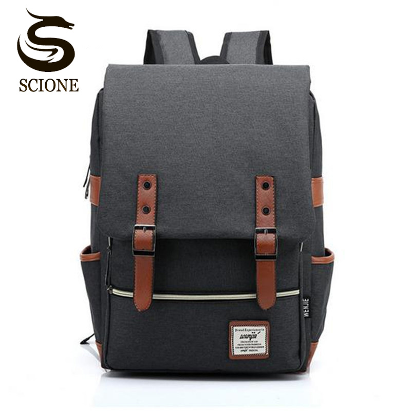 Fashion Men Canvas Backpack Women Large Capacity Computer Backpacks for Laptop Casual Student School Bag Daily Travel Rucksacks ozuko multi functional men backpack waterproof usb charge computer backpacks 15inch laptop bag creative student school bags 2018