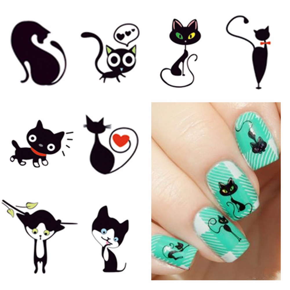 FWC New Fashion Lovely Sweet Water Transfer 3D Grey Cute Cat Nail Art Sticker Full Wraps Manicure Decal DIY 3d content transfer