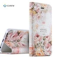 Gview 5S caso lujo pu cuero 3D relieve impresión estéreo caso de la cubierta del tirón para el iPhone 5S 5 se soporte teléfono Conchas fundas