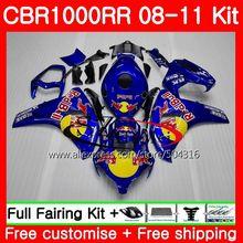 Bodys Para HONDA CBR1000RR CBR1000 RR CBR 1000 RR 08 11 59HS7 Quente venda azul 08 09 10 11 CBR 1000RR 2008 2009 2010 2011 Carenagens