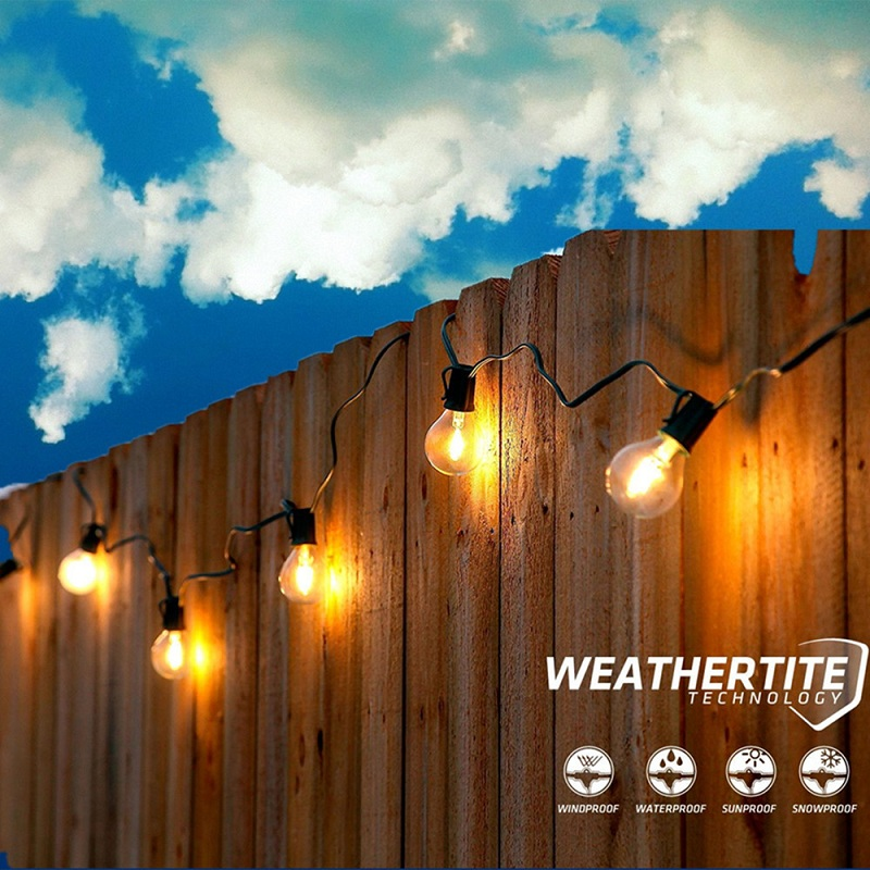 Customized 5M Globe G40 String Light With 8pcs 1W LED Bulbs Patio Yard Cafe  Bar String Light Outdoor Commercial Light Waterproof