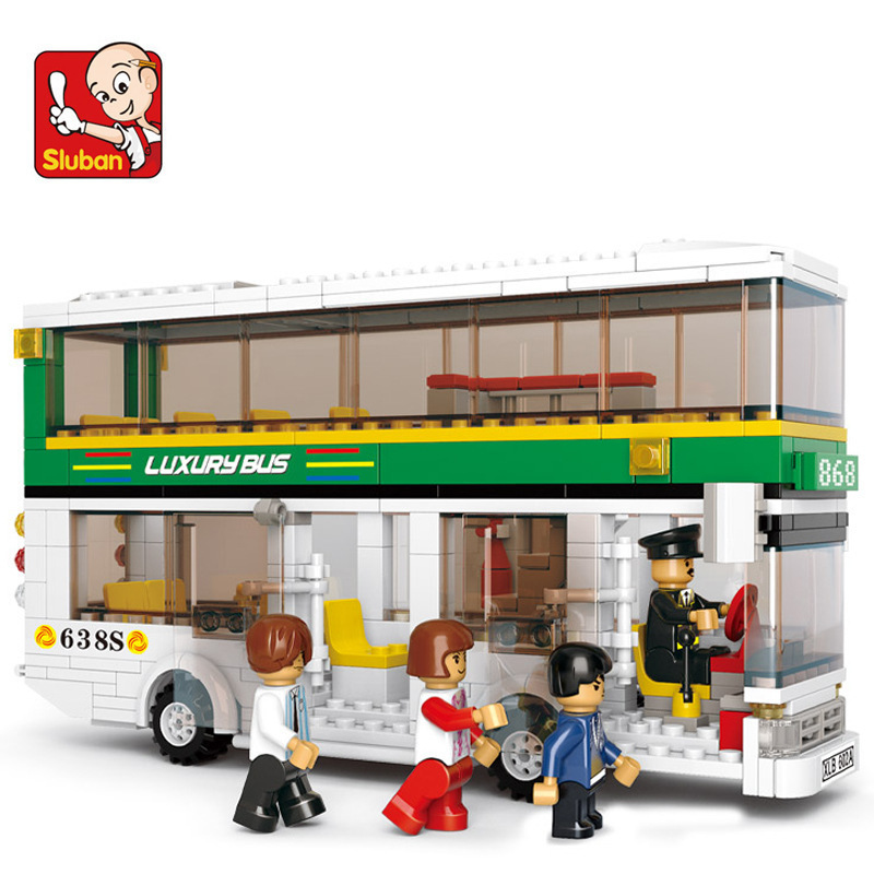 Sluban model building kits compatible with lego city bus 1097 3D blocks Educational model & building toys hobbies for children