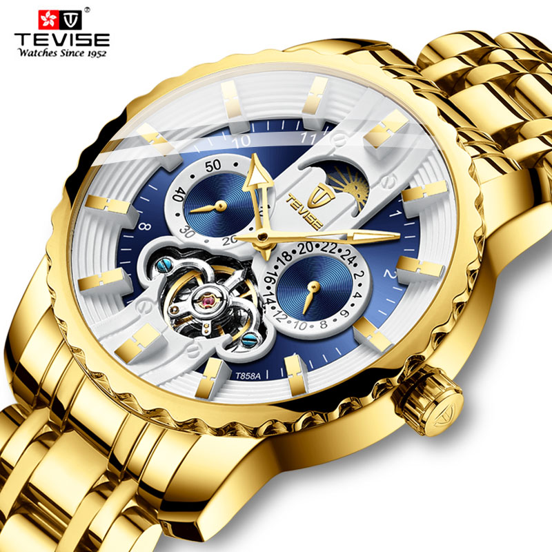 Tevise men s automatic mechanical watch stainless steel tourbillon waterproof personality watch gift box