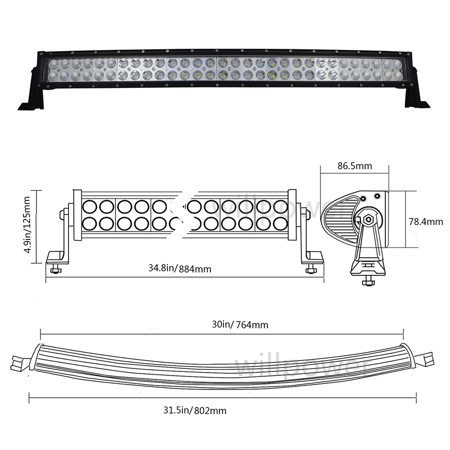 32 180w curved led light bar combo beam with wiring kit for work curving led wiring diagram for use [ 900 x 900 Pixel ]