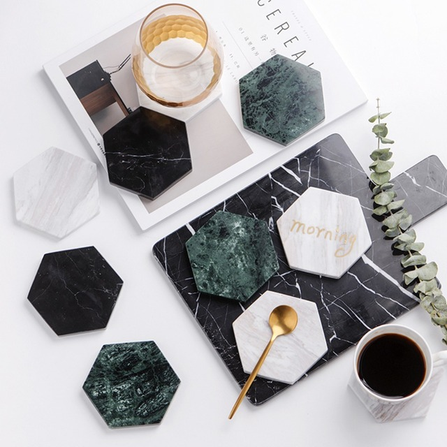 1 Pcs Home Marble White gold Table Cup Mat Creative Decor Pad Coffee Placemat for Table Spinning Hotel Restaurant Drinks Coaster