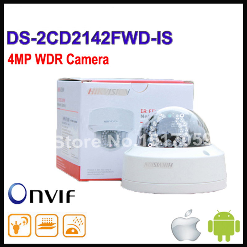 Free shipping Hikvision DS-2CD2142FWD-IS same as english model DS-2CD2142FWD-IS H265 IP network dome poe cameras audio 4MP CCTV