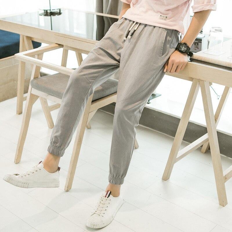 2018 Brand Summer Mens Casual Ankle-length Linen Pants Elastic Waist Loose Thin Soft Hemp Harem Trousers Solid Pencil Pant Xxxl