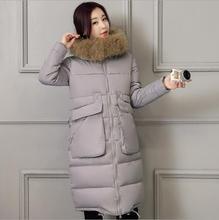2017 новые зимние куртки женщин большой меховой воротник с капюшоном тонкий средней длины вниз пальто хлопка большой карман снег теплый парки T446