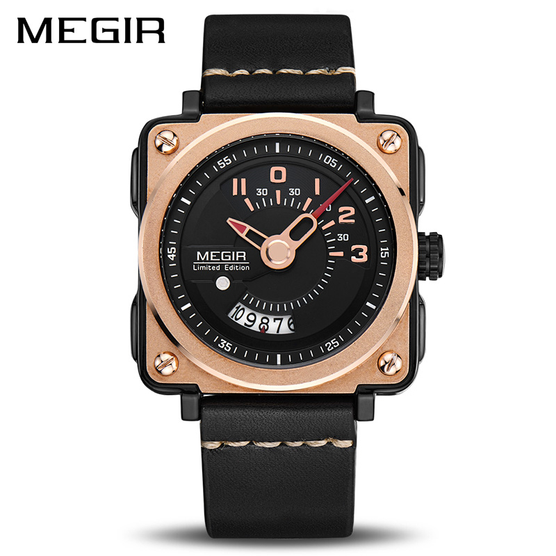 цены на MEGIR Men Watch Fashion Quartz Watches Clock Men Leather Strap Relogio Masculino Military Watch for Male Reloj Hombre 2040