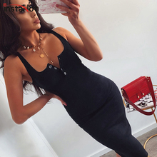 InstaHot 2019 Summer Dress Women Sexy V Neck Knitted Sleeveless High Waist Bodycon Elegant Fashion Party Solid Skinny New
