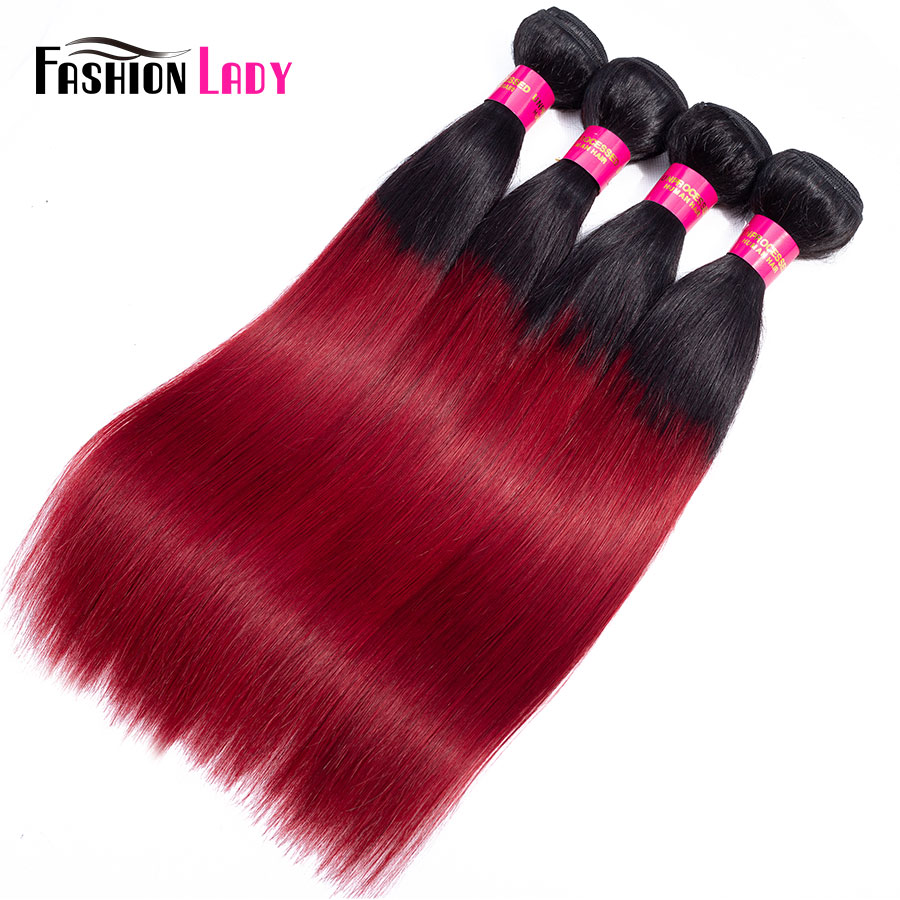 Fashion Lady Pre-Colored 1b Burgundy Straight Bundles Ombre Human Hair Weave Brazilian Hair Bundles 1 3 4 Bundle Deals Non-remy