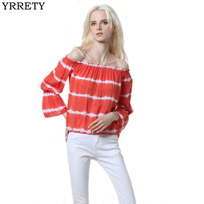 YRRETY 2018 Women Sexy Lantern Half Sleeve Loose Tee Slash Neck Shirt Tops Off Shoulder Ladies Streetwear Shirts Woman Clothes