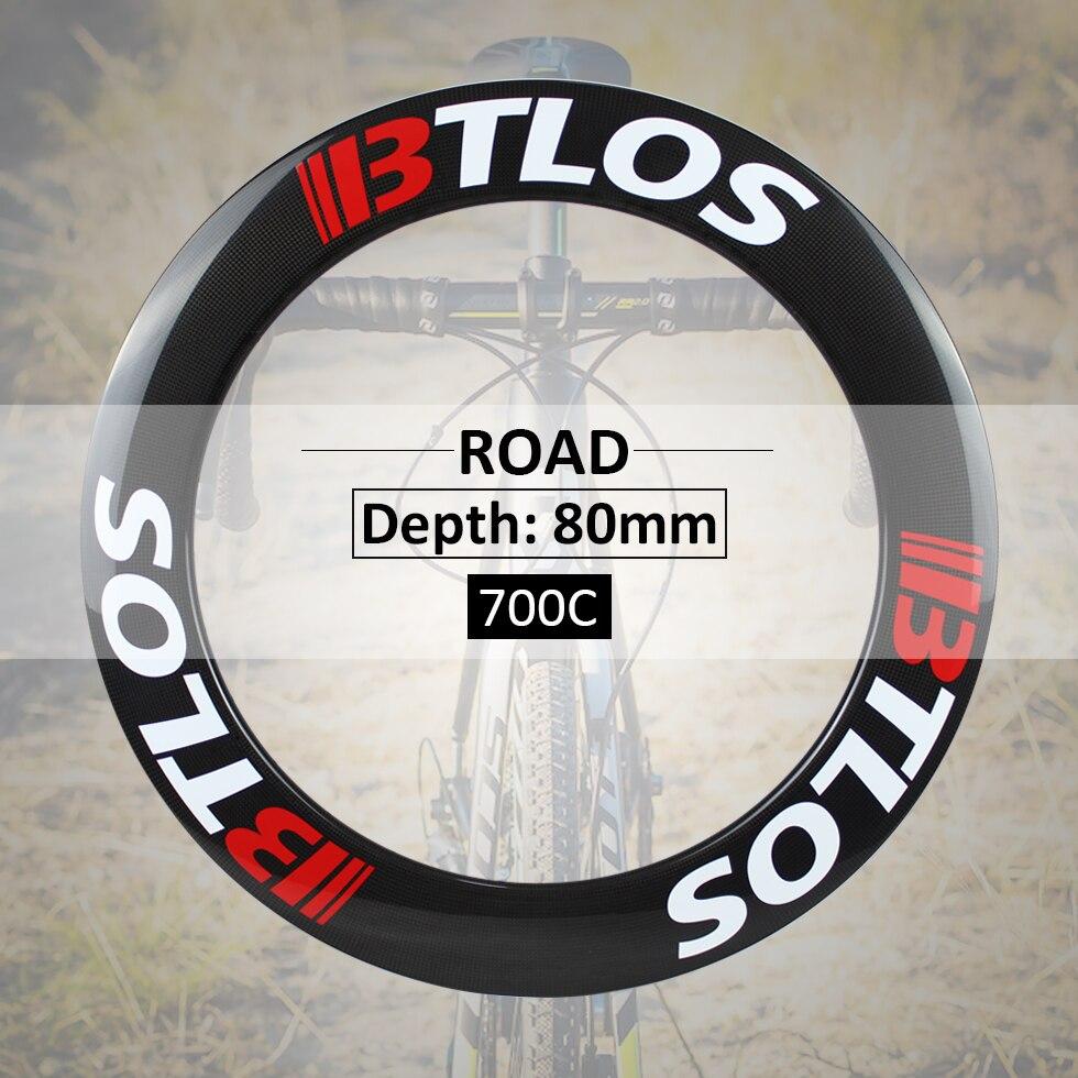 Spor ve Eğlence'ten Bisiklet Tekerleği'de Ultralight Karbon bisiklet tekerlekleri 80mm derinliği Özel fren V fren kattığı 700c yol bisikleti jantlar BTLOS RC 80L title=