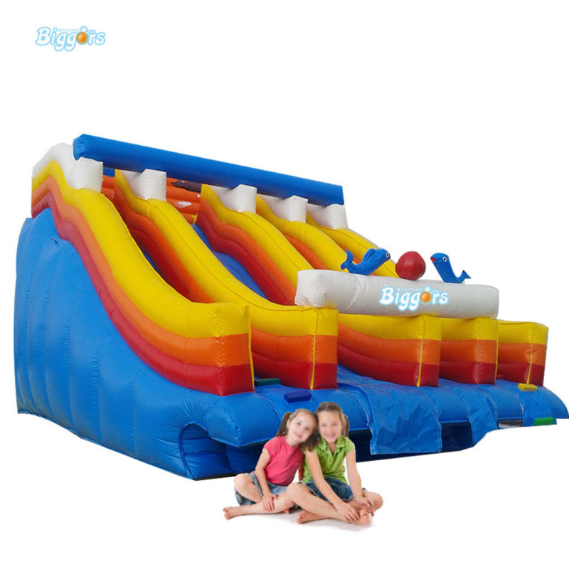 Inflatable Biggors Double Lanes Inflatable Water Slide For Stucking In Pool popular best quality large inflatable water slide with pool for kids