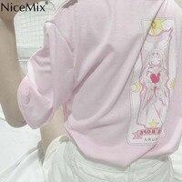 NiceMix 2019 плюс размеры футболка для женщин топы корректирующие Kawaii футболки Harajuku принт мультфильм женский сладкий розовый свободная футболк