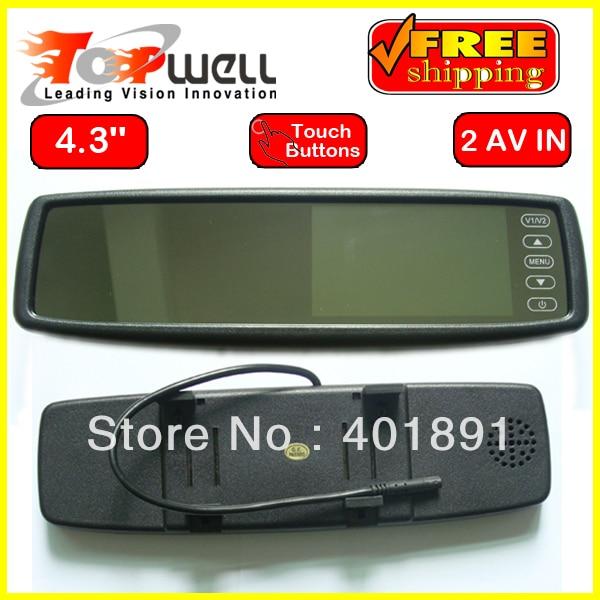 Free Shipping LED Backlight  High Resolution Digital Screen Colour 2 AV Input 4.3'' Clip On Mirror Car Monitor
