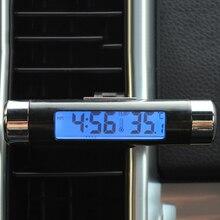 2 в 1 Автомобильный транспортный с ЖК-дисплеем Цифровой подсветка Автомобильный термометр часы календарь дисплей Автомобильный Вентиляционный Выход клип-часы
