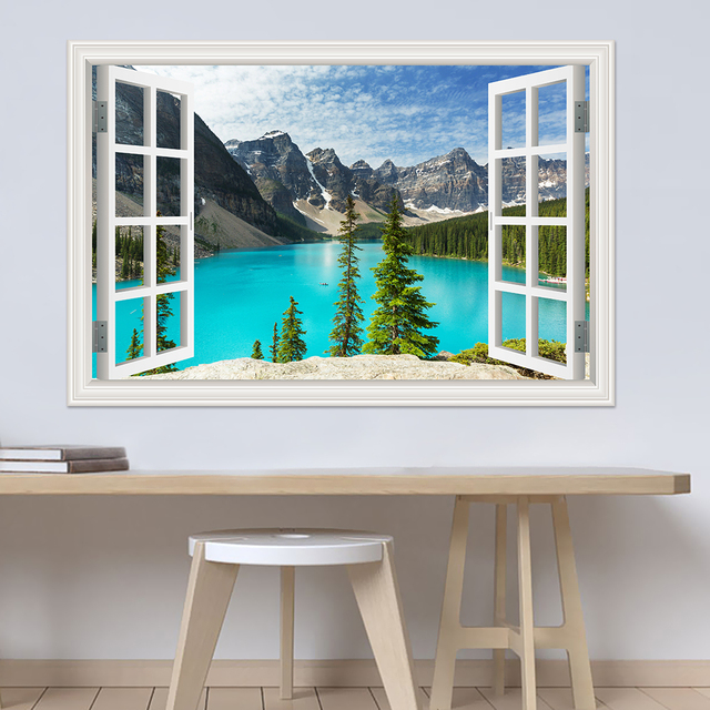 3d wall sticker lake landscape modern window view pvc wallpaper home decor decals wardrobe sticker for