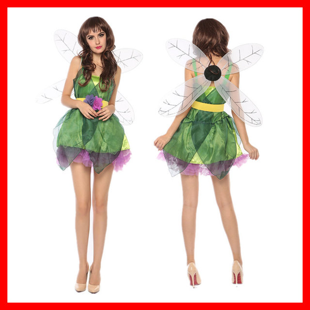 64436cb54d6 US $19.47 5% OFF|Women Sexy Deluxe Green Tinkerbell Fairy Costume Adult  Tinker Bell Princess Dress Halloween Cosplay Clothing Medieval Costume-in  ...