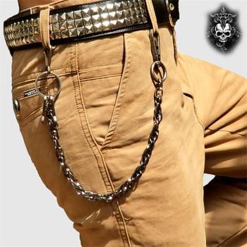 Fashion Punk Hip-hop Trendy Waist Chain Shield Charm Double Hinge Male Pants Belt Chain Women Men Jeans Metal Accessories DR53 1