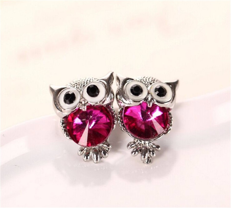 New Design Crystal Women Charms Owl Stud Earrings Five Colors Fashion Jewelry White Gold Plated Cute Trendy For Wedding HFNE0999