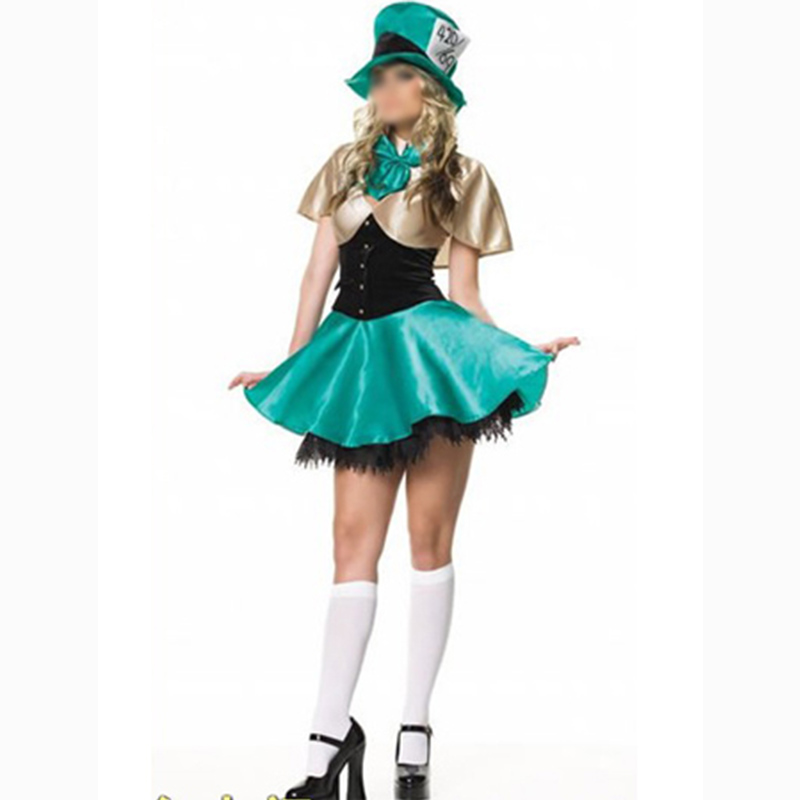 Free Shipping Adult Carnival Magician Costume Masquerade Dress Women Fancy Dress Outfits Halloween Sexy Suits With Green Hat