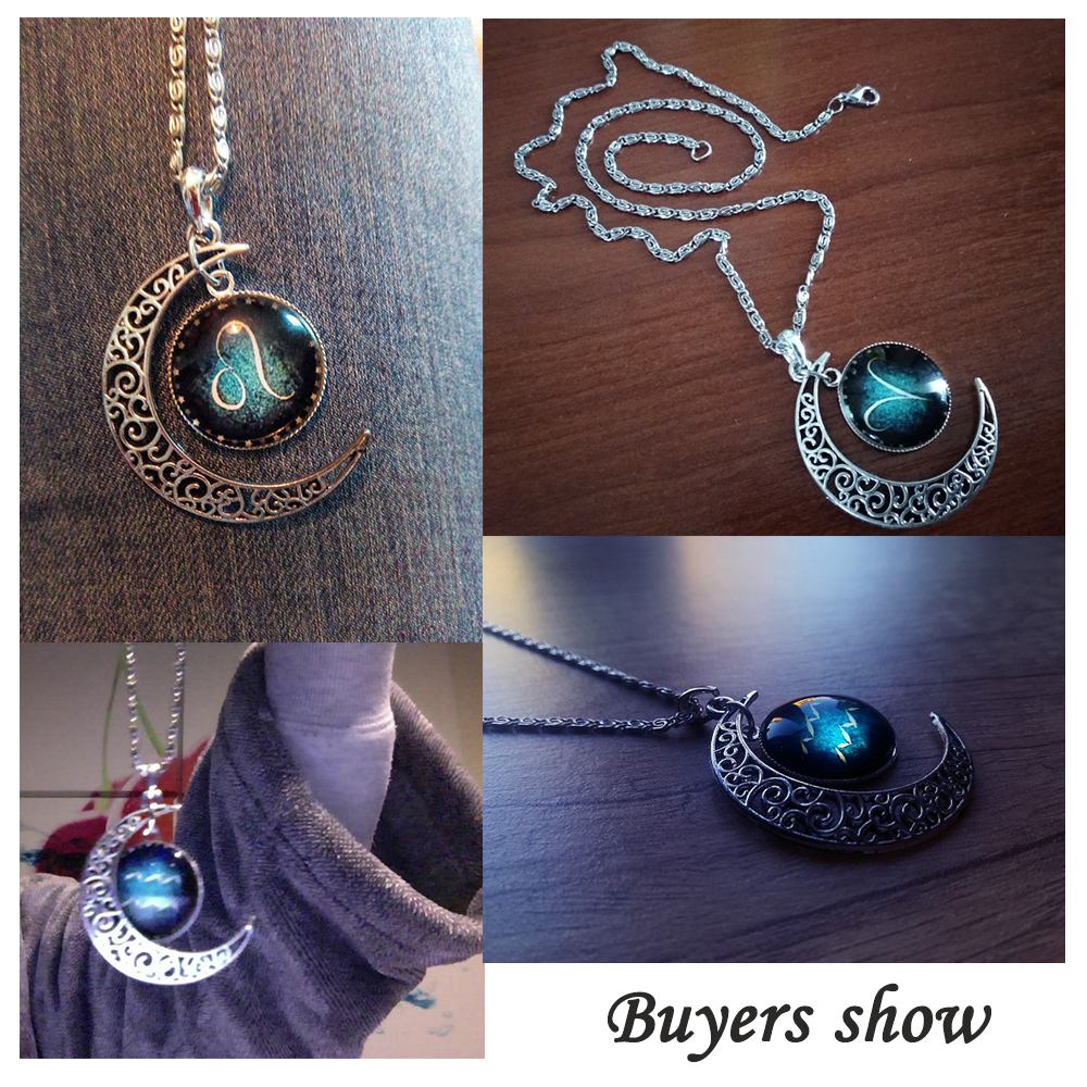 Fashion Silver Plated Crescent Pendant Necklaces Jewelry Zodiac Statement Necklaces For Women Cabochon Glass Necklaces Collares in Pendant Necklaces from Jewelry Accessories