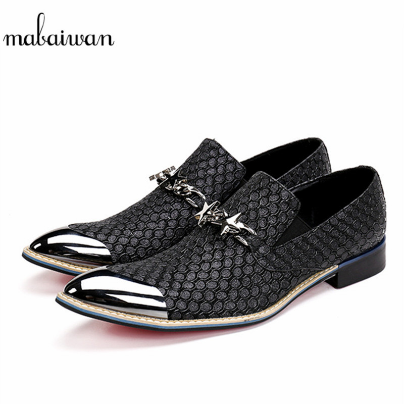 Mabaiwan Fashion Italy Men Loafers Slipper Metal Toe Loafers Wedding Dress Shoes Men Flats Slip On Black Handmade Casual Shoes mabaiwan italy casual men shoes snakeskin leather loafers fashion slipper wedding dress shoes men slip on handmade party flats