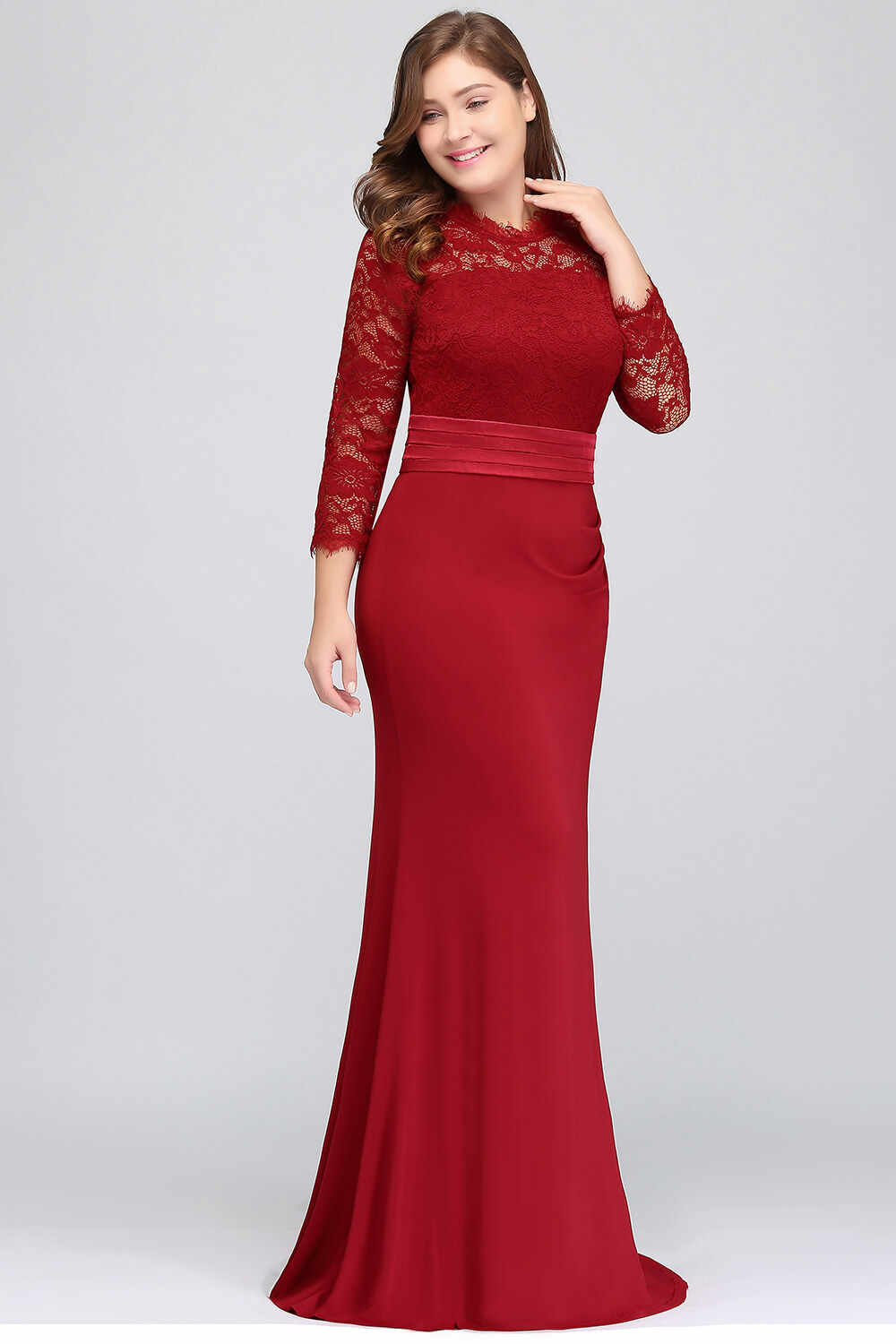 f64b295b78392 Plus Size Lace Mermaid Long Evening Dress Elegant Three Quarter Sleeve  Evening Gowns with Sashes Abendkleider Robe de Soiree