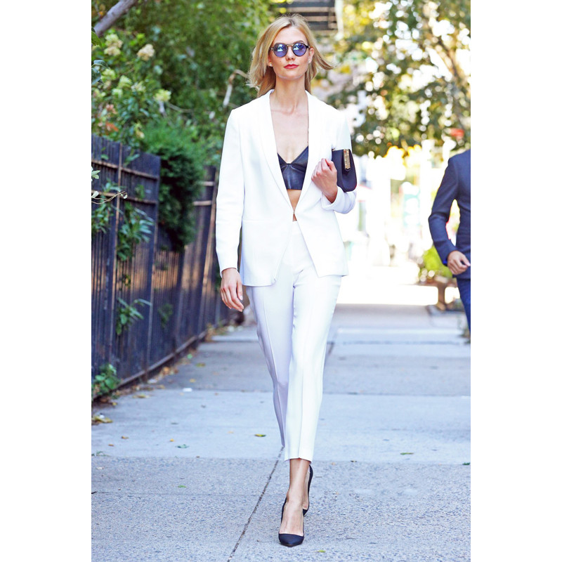 White Womens Business Suits Female Office Uniform Straight Trousers Suit Single Breasted ...