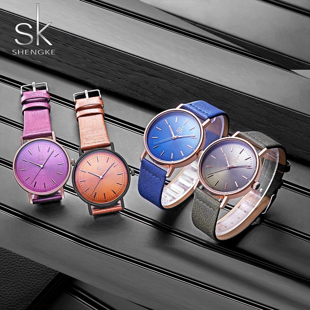 Shengke Fashion Leather Women's Watch 4 Colors Lady Wristwatch Women's Watch Leather Belt Relogio Feminino Montre Femme 2018