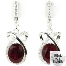 5.7g Real 925 Solid Sterling Silver Elegant Red Blood Ruby Cubic Zirconia Earrings 30x12mm