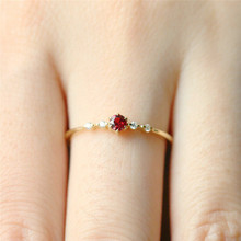 BOAKO Dainty Red Stone Rings For Women Gold Thin Gem Crystal Ring Wedding Jewelry Size 10 Anillos Mujer Girl Z5