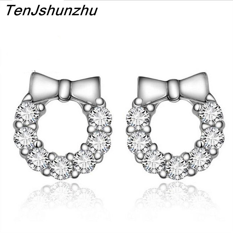 TenJshunzhu Sliver Color Fashion Jewelry Shiny 2 Carat CZ Crystal Cubic Zirconia Woman Stud Earrings New EH093