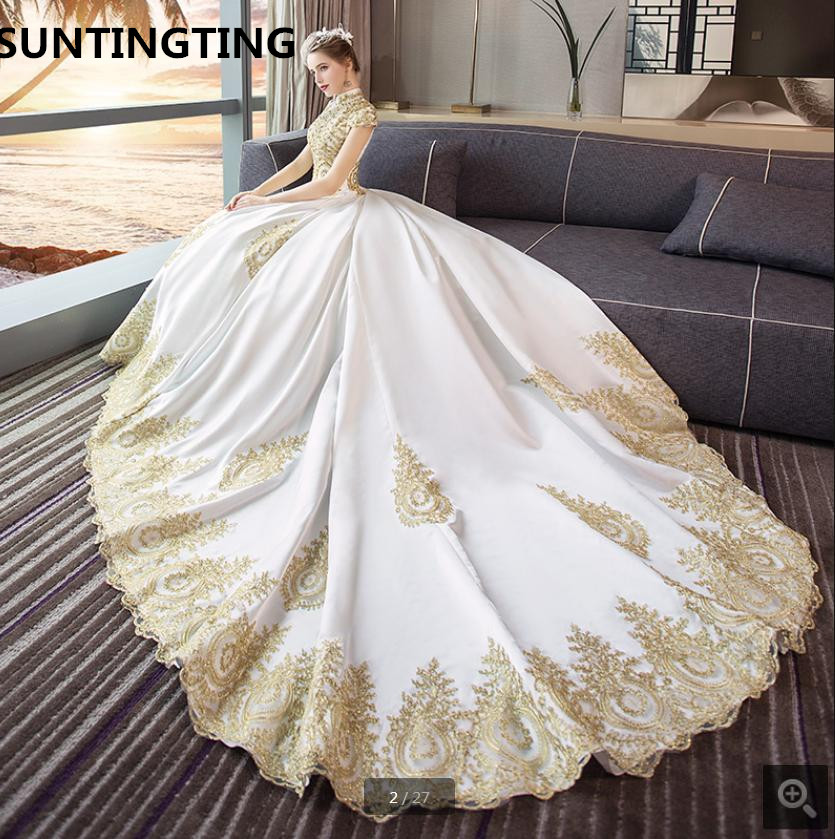 2019 new arrival ball gown gold lace appliques wedding dresses hijab muslim women high neckline modest wedding gowns hot sale