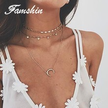 FAMSHIN Multilayer Crystal Moon Pendant Necklaces For Women Vintage Charm Choker Necklace Statement Party Jewelry Accessories(China)