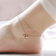 New fashion Double chain beads anklets for women Girl Party Anklet Jewelry Wholesale Free Shipping