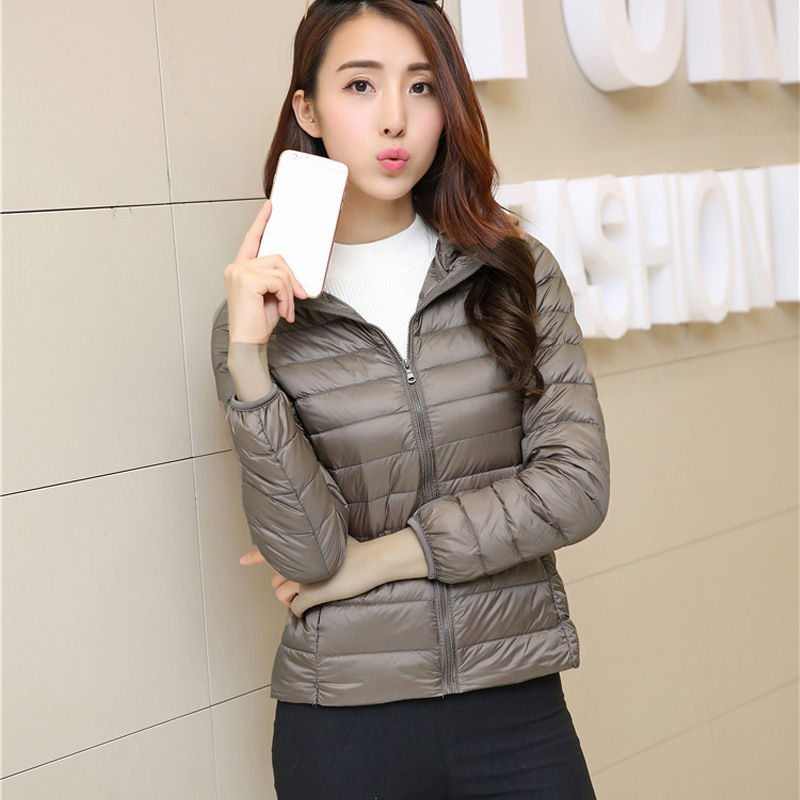 2017 new winter Korean version of the down jacket short section of pure color ultra-thin hooded jacket jacket cotton models