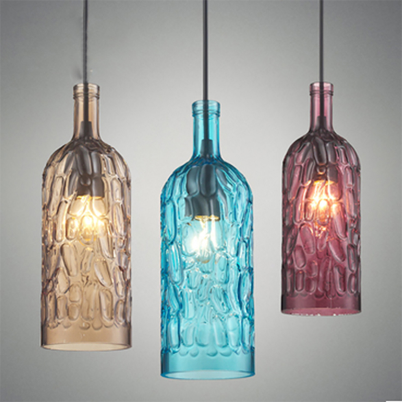 Modern art deco Hanging colorful glass winebottle e27 Pendant Lamp with led Lights cord for restaurant living room Kitchen bar modern minimalist art deco pendant lights ball glass shade globe led hanging lamp for living room bar home light fixtures gold