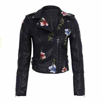 Ailegogo Spring Autumn Flowers Embroidery Pu Leather Jacket Women Turn-down Collar Rivet Zipper Black Biker Coats Tops Clothes - DISCOUNT ITEM  32% OFF All Category