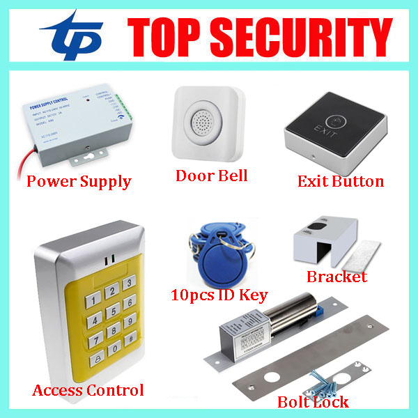 Best Full Rfid Door Access Control System 125Khz Rfid Card Access Control System Kit + Electric Magnetic Lock & Power Supply diysecur magnetic lock door lock 125khz rfid password keypad access control system security kit for home office
