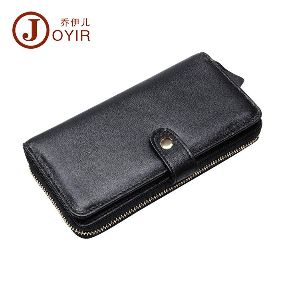 JOYIR women wallets Genuine Leather Brand Design High Quality Zipper + hasp Cell phone Card Holder Long Lady Wallet Purse Clutch casual weaving design card holder handbag hasp wallet for women