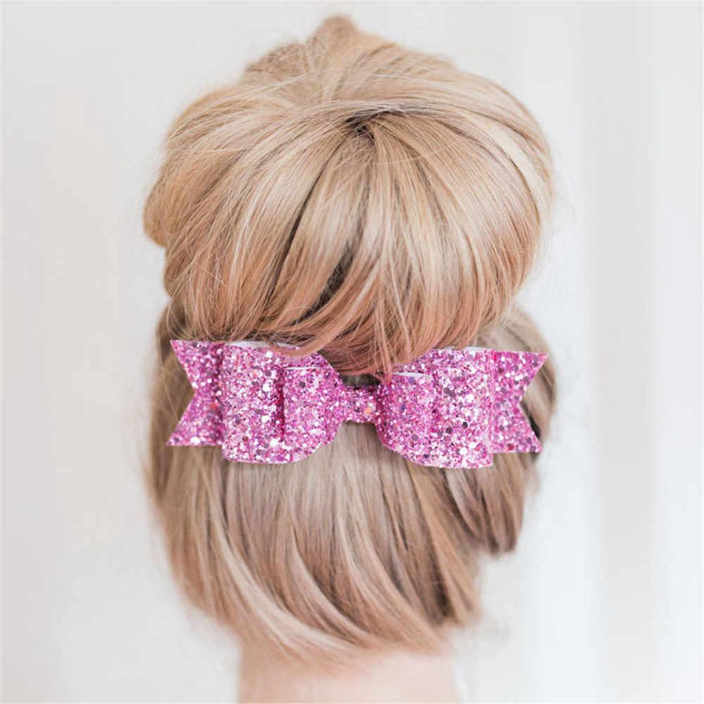 Femme Fille Brillant Sequin Grand Noeud Barrette épingle à cheveux pince à cheveux Hair Bow 1PC US