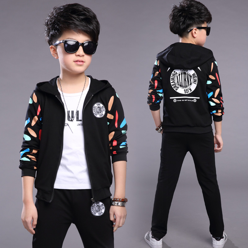 FYH Boys Clothing Kids Spring Autumn Sets Teenagers Casual Suit Hooded Jacket + Pants Sports Suit Sets Boys 2pcs Coat + Pants