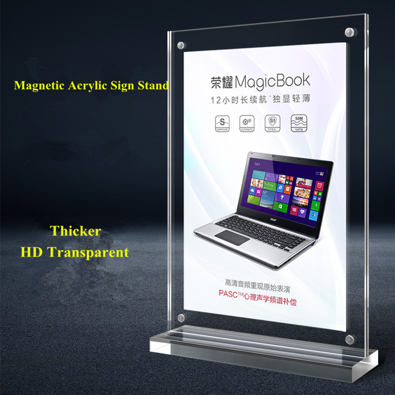 A4 210*297mm Acrylic Magnetic Sign Holder Display Stand Frame For Poster Picture Paper Menu Advertising Display