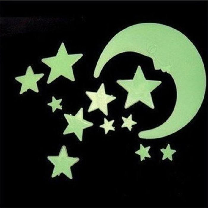 1 Set Glow In Dark Luminous Cartoon Moon Star Nursery Baby Room Home Decor Wallpaper Wall Stickers For Kids Rooms Decal