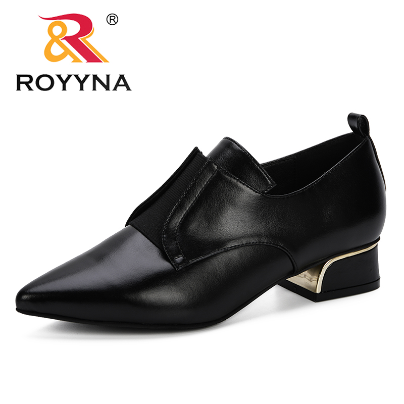 ROYYNA Women 2019 Spring Autumn New Designer Popular Pumps Office Pointed Toe Slip On Dress Shoes Low Heels Microfiber Leather