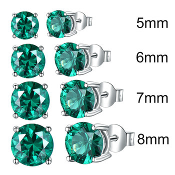 UMCHO Solid 925 Sterling Silver Emerald Gemstone Stud Earrings for Women Engagement Wedding Valentine's Day Gift Classic Jewelry 2