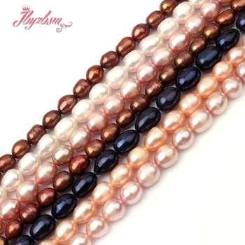 a0bdc2b606d3 7-8mm Oval cultivadas de agua dulce perla cuentas de piedra Natural para  DIY collar de pulseras joyería regalo suelto 15