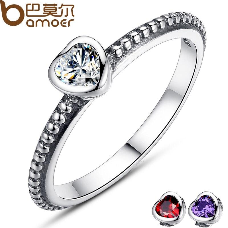 BAMOER Presente do Dia das Mães 3 Cores Authentic 100% 925 Sterling Silver Amor Anel Coração Anel De Casamento Original Jóias PA7107